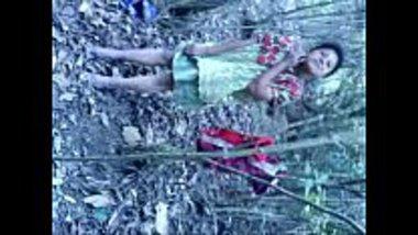 Desi village girl stripping in the forest