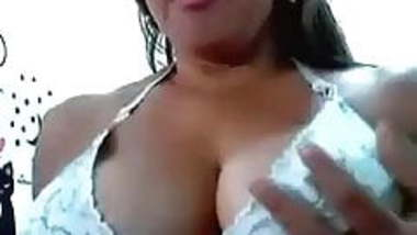 Exquisite huge breasts of an Indian housewife on webcam