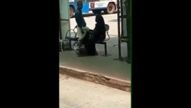 Kerala aunty stroking a penis in a bus stand