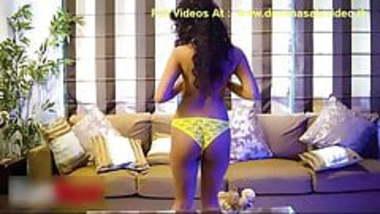 Indian desi hot wife in yellow bra wailting for husband