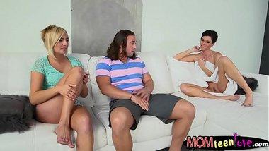 Kate England and India Summer threesome session on sofa