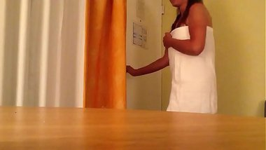 Wife drops towel for room service
