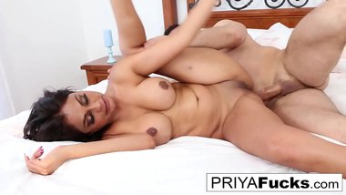 Busty Indian Priya Rai enjoys some dick in her bedroom!