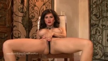 Sunny Leone Stripteases and Masturbates Wearing Hot Red Lipstick