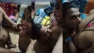Sexy boobs sucking selfie MMS video