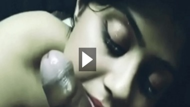 Indian girl sucks her lover's dick in a cute sexy way