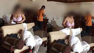 big boob desi wife soniya in bra shorts teasing room service boy
