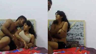 indian hot aunty hard sex squeezing her boobs hard