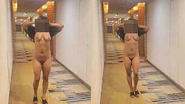 Pranya in transparent lingerie flashes at Hotel Lobby