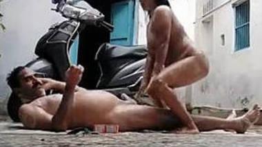 Desperate desi couple nude rain bath in open roof
