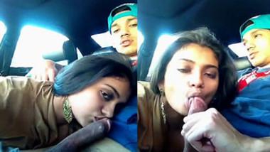 hot NRI babe sucking BF on lunch break in car part 2