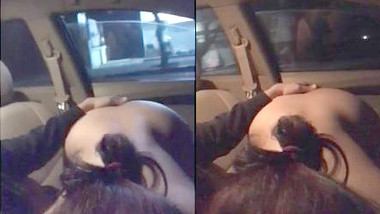 Daring nude Delhi wife sucking hubby's cock in moving car