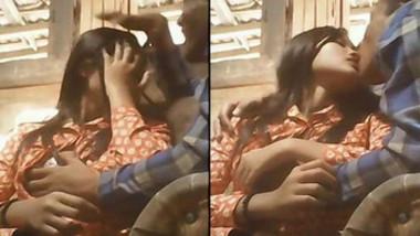 Lovers smooch kiss n boob presing in a resturent
