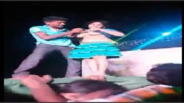 Telugu Girl Showing Boobs On Stage At Recording Dance