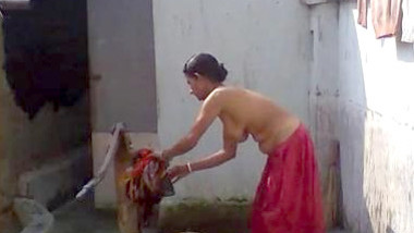 Indian boudi Bathing
