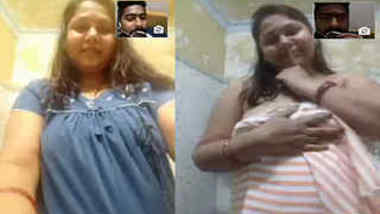 Ordinary video call gives Desi guy XXX opportunity to see sexy fatty's tits