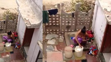 Innocent Indian girl washes her XXX assets in front of hidden camera