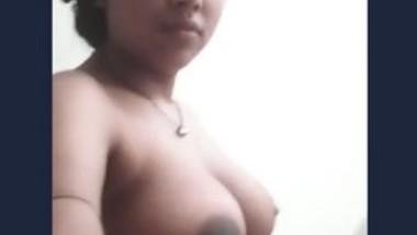 Beautiful girl show her big boob selfie video