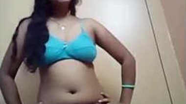 After working day Indian girl gets naked exposing XXX boobies and pussy