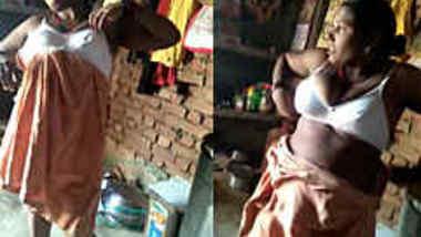 After work Desi woman shows XXX assets in sex clip filmed in garage
