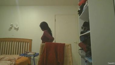 Desi girl comes home and gets naked but then fins the hidden camera