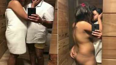 Man films on phone camera how he kisses Indian and touches her XXX butt