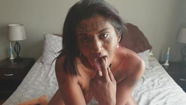 Desi trash whore with body writing humiliating herself | face and pussy slapping | spitting