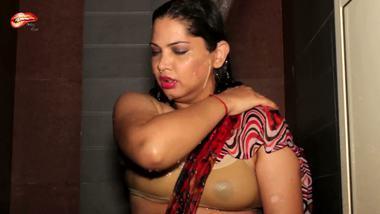 Indian shower porn showcasing busty aunty transparent bra