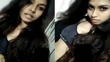 Indian slut with wavy hair has wonderful XXX boobies to expose on camera