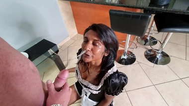 Indian cleaning girl gets a golden shower from her boss while busy working   piss clean up   interracial   blowjob