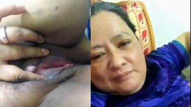 Naughty granny showing her boobs and pussy