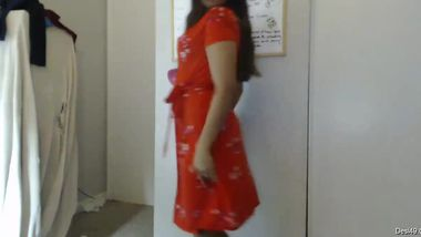 Wondrous Desi girl puts on a red robe to take if off in a few moments