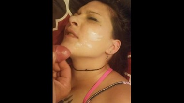 Neighbor cums on my face. I love being a cheating slut