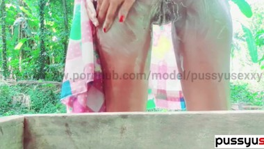 sri lankan teen girl outdoor bath and pussy masturbate